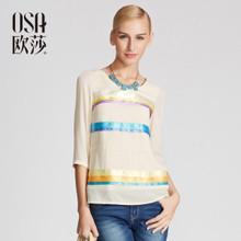 OSA Ou Shachun Fit New Model 2014 Women's Cotton Shirts At the End of Matching Color Small Shirt T-shirt Women ST420104