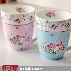 【杯子家】创意欧式玫瑰典雅骨瓷马克杯杯子咖啡杯水杯茶杯对杯