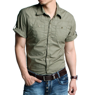 [KUEGOU] super handsome drape  elastic fabric flip sleeve of short sleeve shirt army KSC-6005