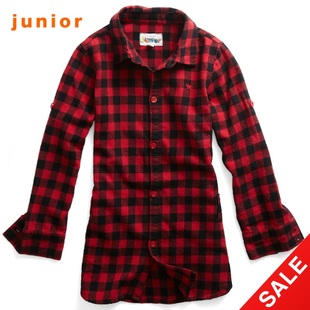 Snap up limited edition Giordano shirts girls vivid red roll sleeve flannel shirt 03340502