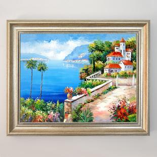 电表箱配电箱装饰画推拉电闸盒遮挡箱餐厅壁画油画挂画地中海风景