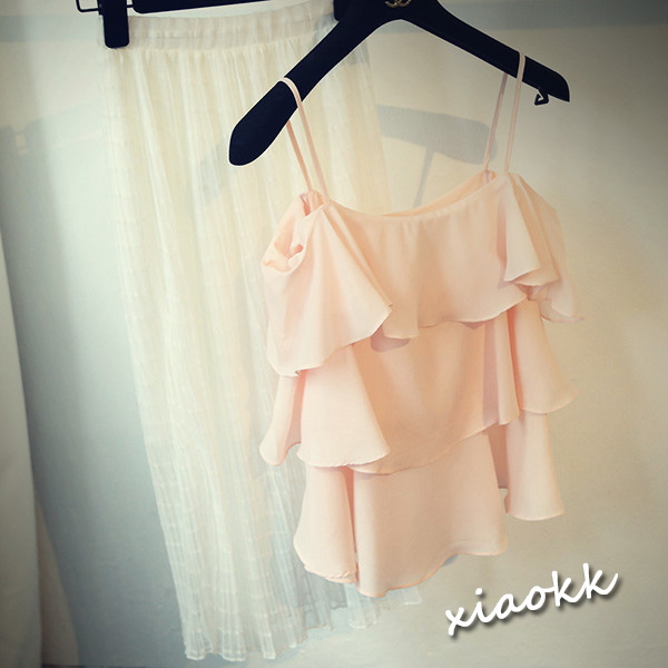 韩国代购名媛风露肩雪纺衫吊带甜美蛋糕层小洋装上衣淘宝网