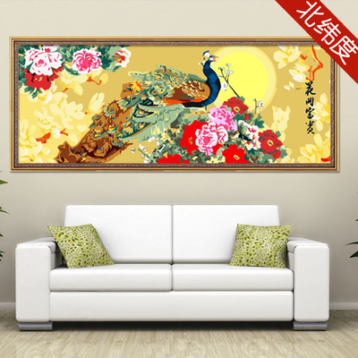 Free shipping new digital painting hand-painted scenery feng shui living room large painting Blossoming flowers fNN777Qd