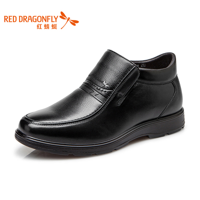 Red Dragonfly 2014 winter new men's business casual leather high-top shoes plus velvet warm cotton-padded shoes men's father