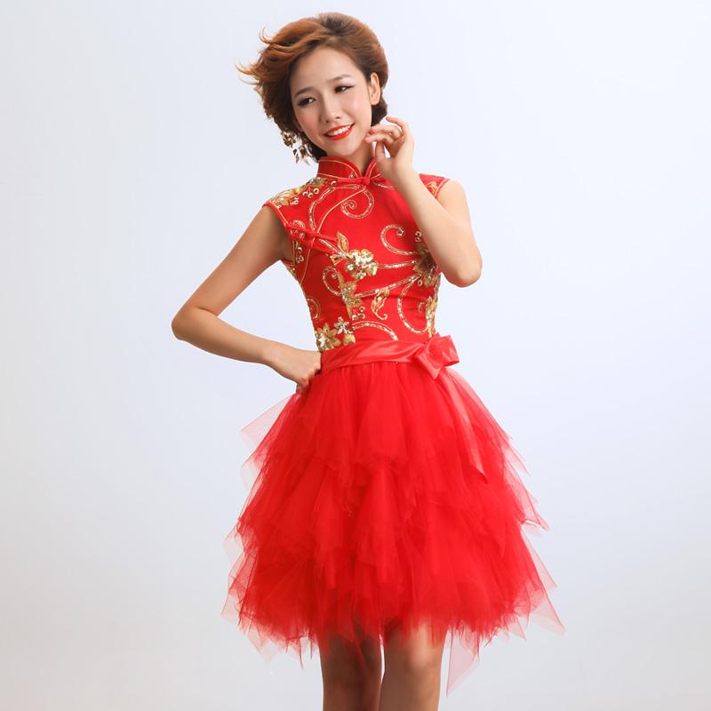 旗袍改良时尚回门装短款修身新娘结婚纱中式小礼服敬酒服
