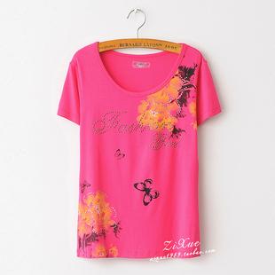 2014威爽夏季圆领百搭莫代尔宽松女式短袖甜美舒适T恤