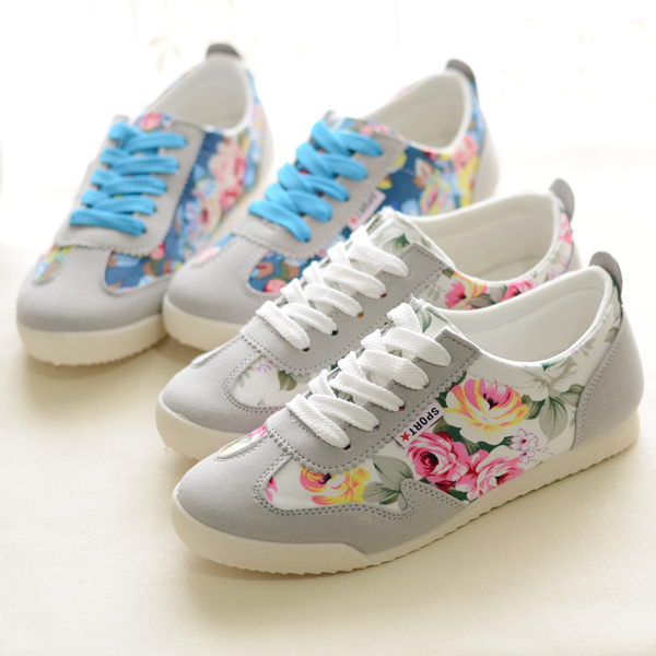 Spring Trifle heavy-bottomed low-top canvas shoes women shoes Korean tidal shallow mouth small floral lace casual shoes lazy shoes