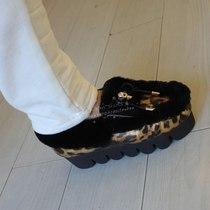 潮爆 个性 秋冬新款 头层豹纹牛皮 翻口羊毛 里衬 时尚女鞋