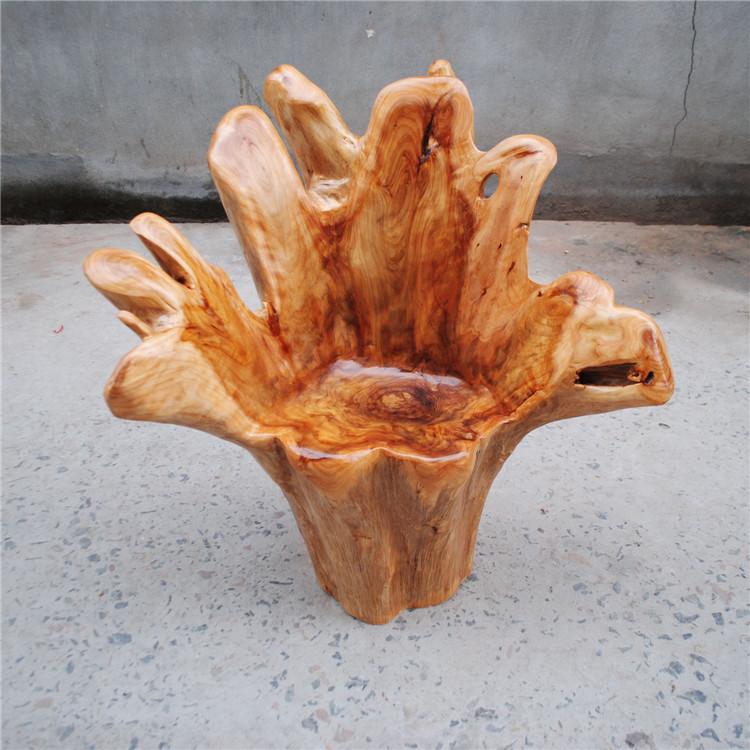 实木根雕靠背椅转椅 杉木靠背椅 实木树根凳子