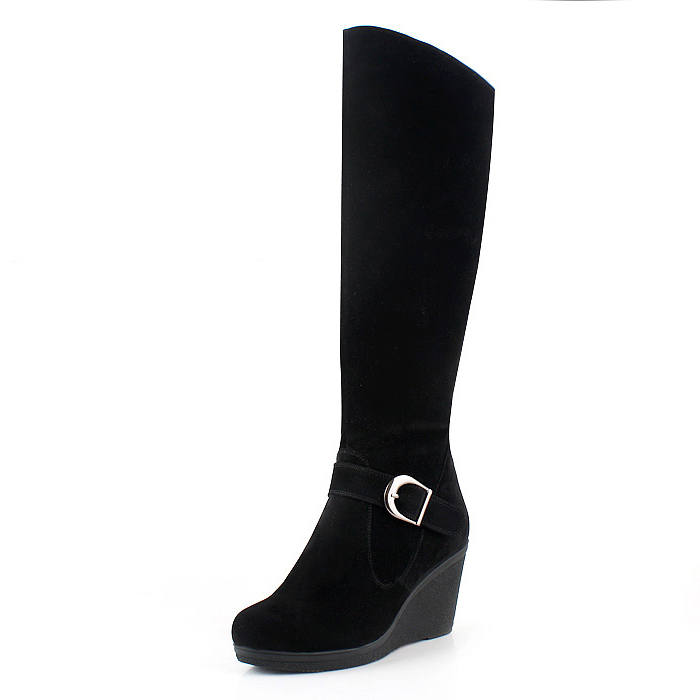 紫郁2011秋季新品女鞋 真皮羊毛厚底坡跟雪地靴高筒长靴子[84]