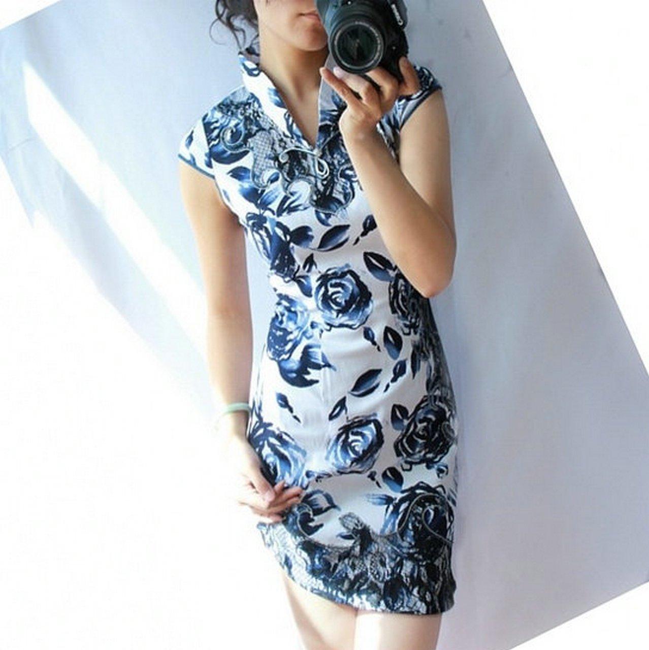 Платье Ципао Восток благородное платье чернил серии синего и белого фарфора