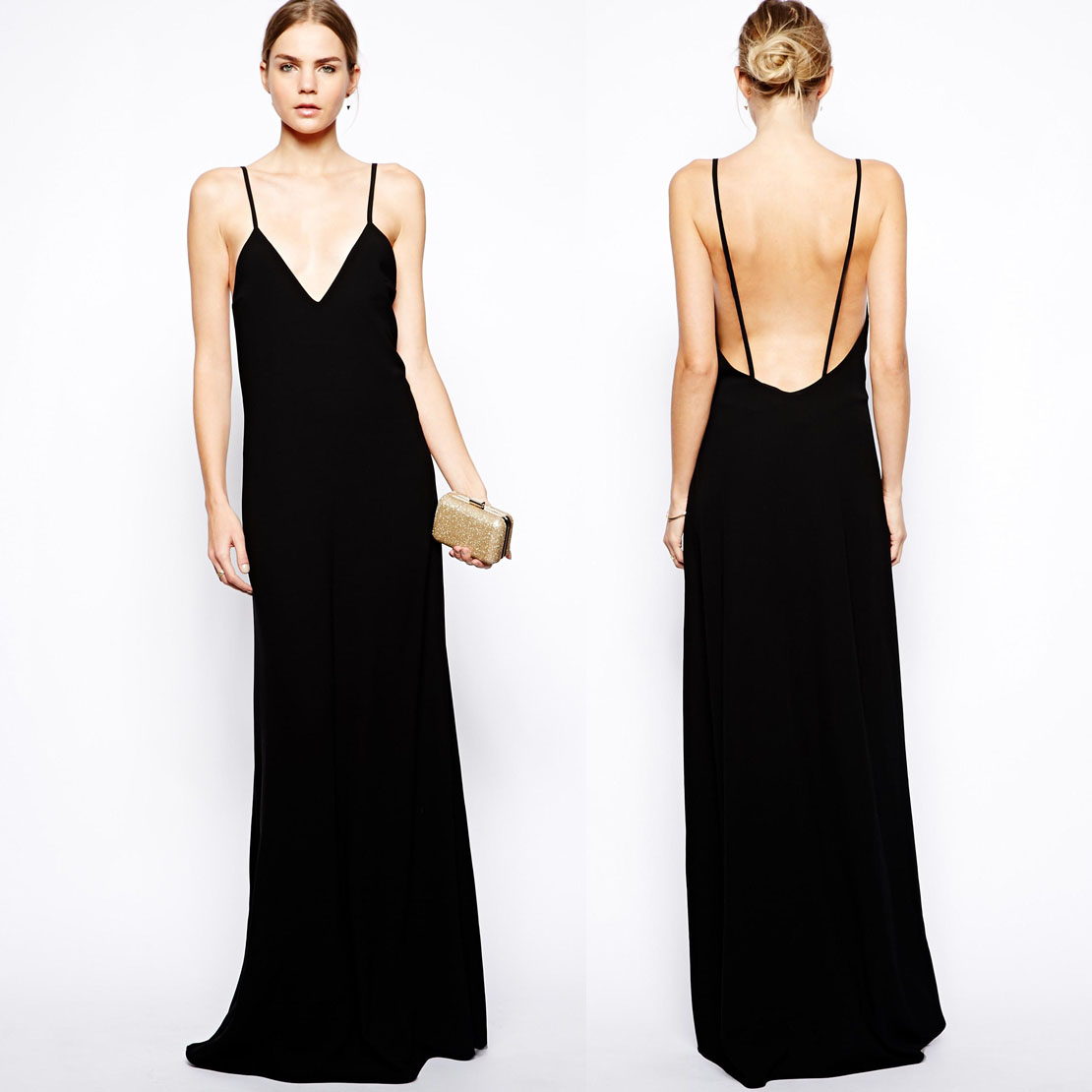 MAXI thin models in Europe and America halter straps and ground black sleeveless dress long dress skirt haoduoyi