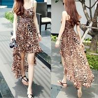 2016夏装新款韩版女装时尚性感豹纹鱼尾式吊带连衣裙沙滩裙潮长裙