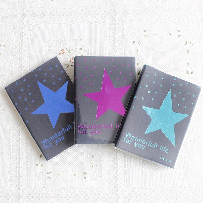 Ежедневник Мода звезды все черные флуоресцентные прохладно ноутбук мягкой копии Блокнот 59 пакеты почты