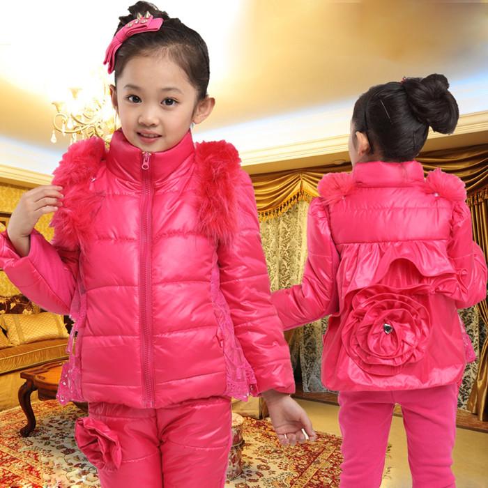 детский костюм Детская одежда девочек ребенок 2013 Новый осень зима одежда свободного покроя сгущает трех частей костюм пальто женская одежда