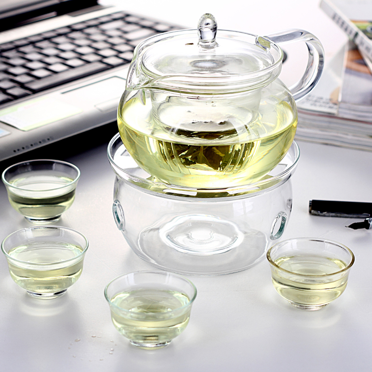 Заварной чайник Чая стекла термостойкого стекла чайник устанавливает кунг-фу чай чашка чайник набор 8 группа направила свечи Чайный набор На 6-х человек