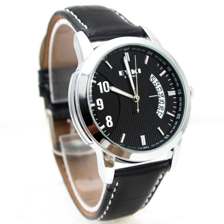 智威EYKI石英表韩国时尚 男士手表 皮带时装表  日历男表 复古表