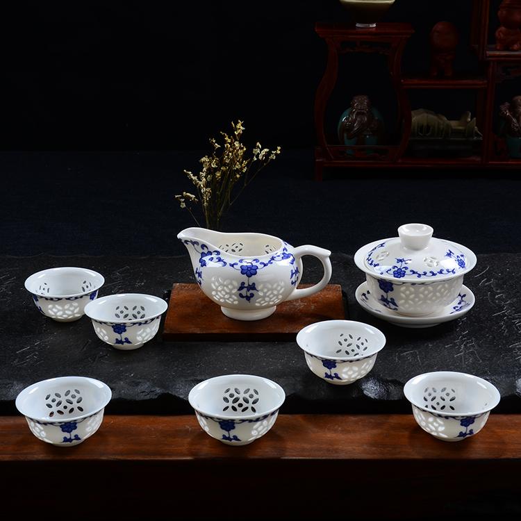 набор для чайной церемонии Полноценное железа Гуаньинь чайные сервизы керамическая синий и белый фарфор чайный набор специальных впадины, подгонять ручная роспись изысканный чай подарок