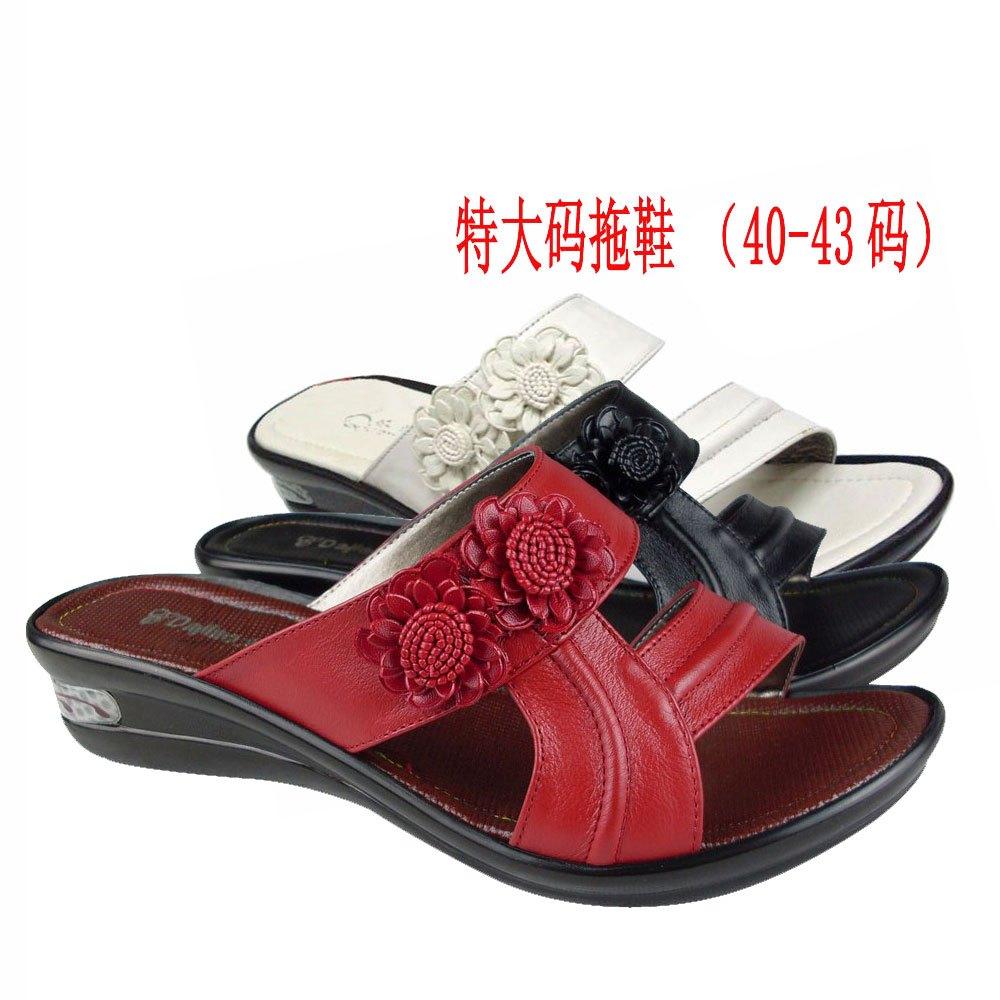 牛皮坡跟聚氨酯底超适凉鞋拖鞋特大码40- 41 42 43 44码真皮女鞋