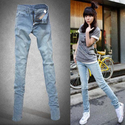 韩版大码女装蓝白牛仔长裤小脚裤子牛仔裤显瘦铅笔裤