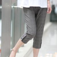 贝儿森 新款夏装孕妇裤七分裤中裤灰格子职业裤适合上班族7351