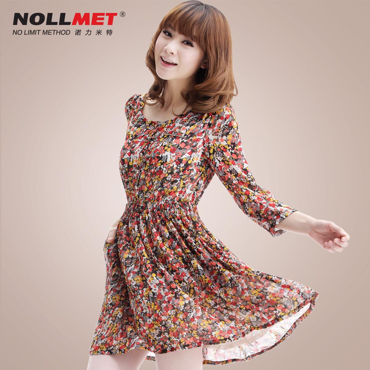 诺力米特2012春夏新款韩版修身女装可打底碎花雪纺连衣裙N12009_价格:189元
