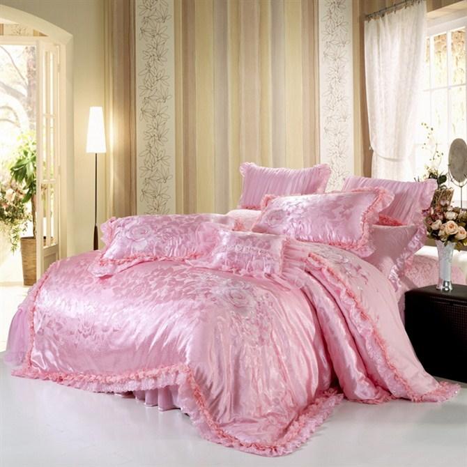 雅丽家纺  床上用品 高档婚庆八件套 100%纯棉  蕾丝绣花