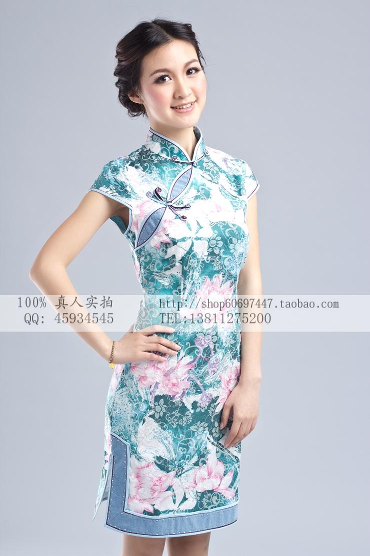 荷韵 2色 中国风2012新款夏装时尚唐装礼服旗袍连衣裙