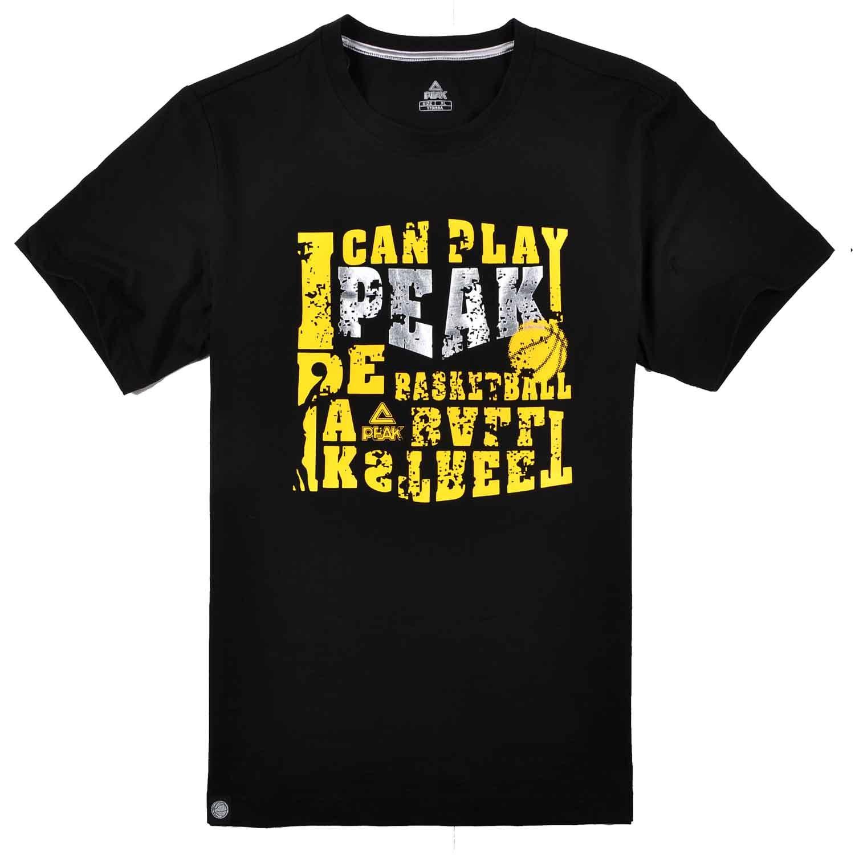 Спортивная футболка Peak f602207 Стандартный Закругленный вырез Короткие рукава ( ≧35cm ) 100 хлопок Спорт и отдых Влагопоглощающая функция % Дизайн