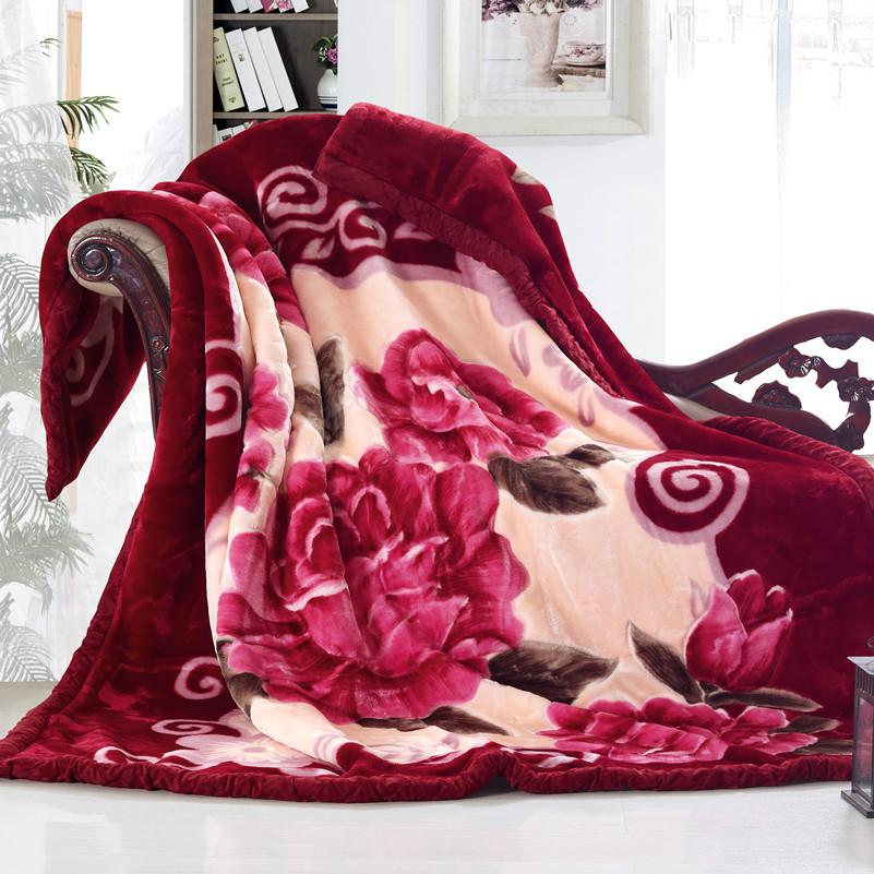 恒源祥家纺 特价包邮 加厚拉舍尔毛毯 双层立体压花毛毯 婚庆毛毯