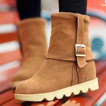 反季促销包邮2012秋冬款潮流日系雪地靴皮带扣圆头短靴平底女靴子
