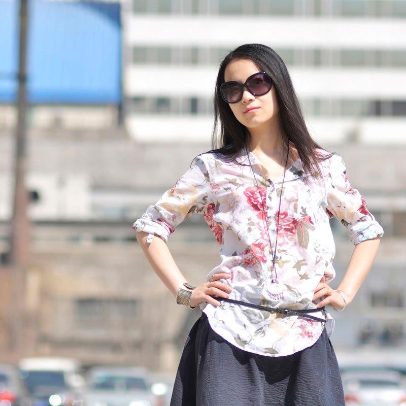 женская рубашка Повседневный стиль Длинный рукав Рисунок Воротник-стойка