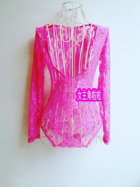 Национальный  костюм DS принимать 2ne1 одежда костюм ночной клуб певица Гага присоединился к Rihanna розового кружева тело костюм