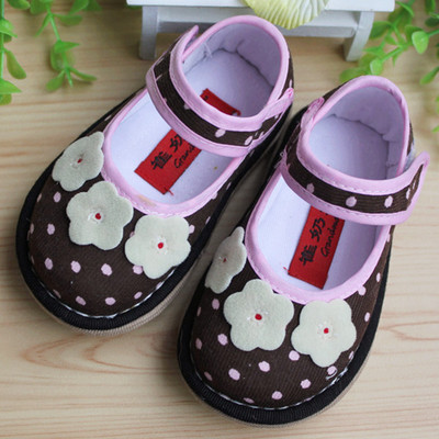 029 girls Cui grandmother handmade shoes Melaleuca reprint shoes toddler shoes slip pad Spring Coffee little flower