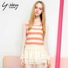 衣香丽影2014夏装新款女装常规甜美镂空长袖女毛针织衫13129012图片