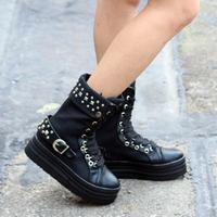 欧美铆钉帆布鞋女内增高短靴子厚底高帮松糕跟皮带扣单靴骑士靴