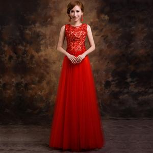 >婚纱礼服敬酒服晚礼服新款2014新娘婚礼结婚长款礼服修身红色