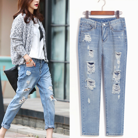 Korean version of the new inter-library denim pant l do the old fashion street shoot holes in jeans tide wild wild personality