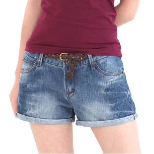 coin cotton original top-washed denim seam shorts, hot pants jeans women