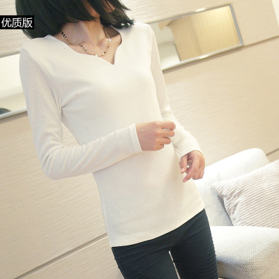 2014 spring new large size women bottoming shirt Slim Korean version of the simple and stylish long-sleeved t-shirt shirt female tide