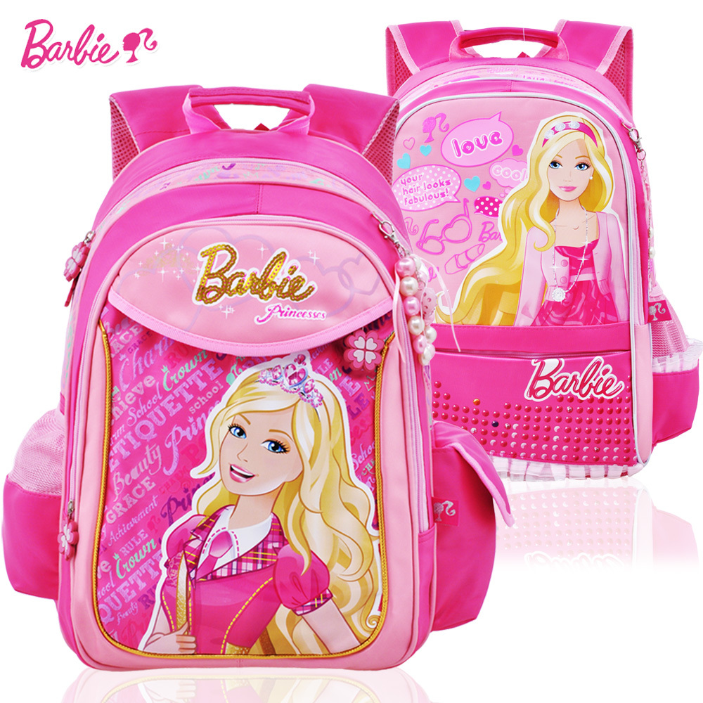 Genuine Barbie school bags schoolbag children girls girls backpack bag Princess doll-mail