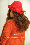 [ Xi ] rice girl is red knit small hat ( for MOMOKO, fr. Barbie head , six points )