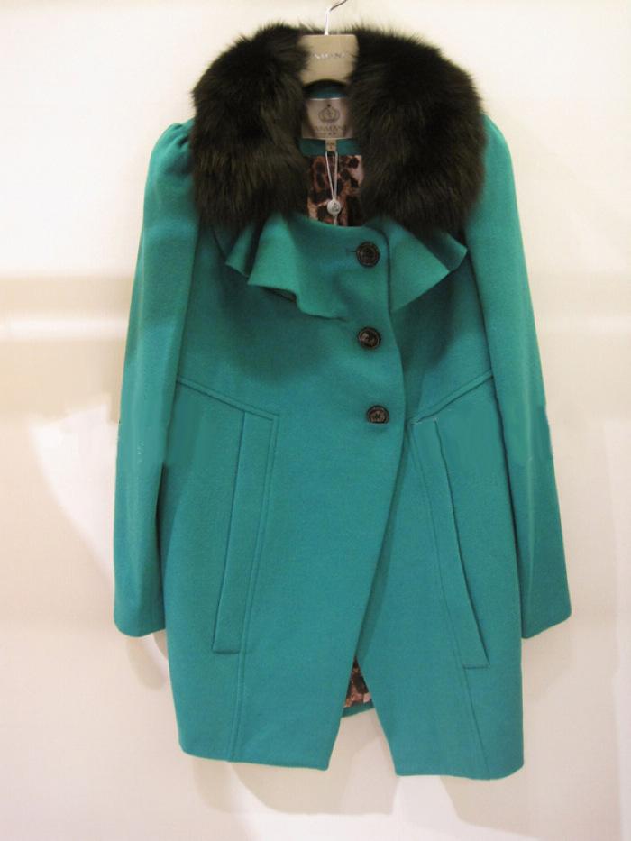 женское пальто «Люблю Даниэль Kleinman Линда» плакат зеленый шерсти пальто меховой воротник пальто mk502 депозит