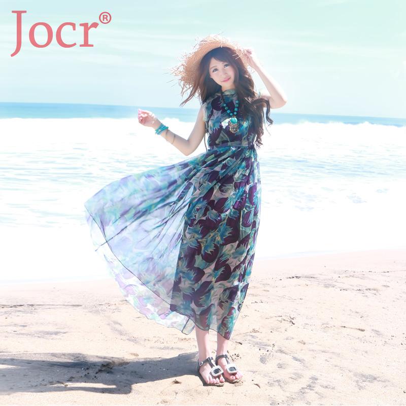 JOCR夏装新款女装波西米亚沙滩裙绿紫印花修身雪纺连衣裙长裙女裙