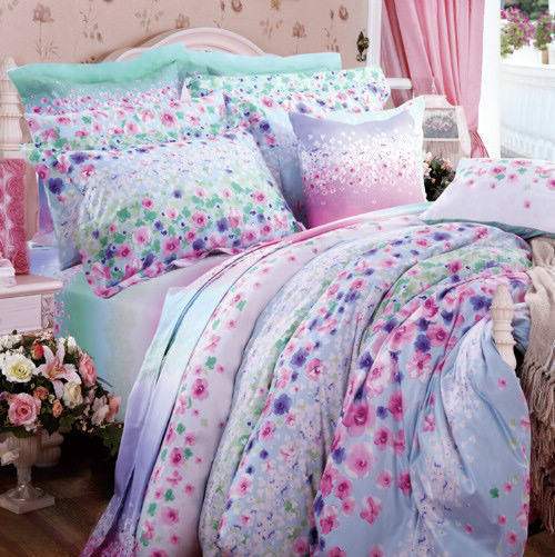 翘雅家纺 斜纹全棉活性印花婚庆床上用品四件套被套床品床单