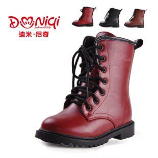 加绒儿童雪地靴防水皮鞋女童靴子韩版男童马丁靴棉鞋童鞋皮靴清仓