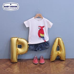 童装夏装2014宝宝上衣鹦鹉款男童女童短袖T恤儿童打底衫