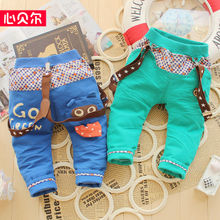 Baby boys age season can open file suspenders infants and young children cartoon bear child child stars in leisure pants pants