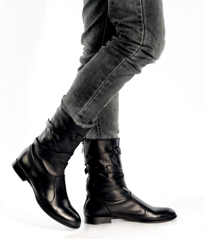Полуботинки 2103/1 Ковбойские сапоги Молния Верхний слой из натуральной кожи Кожа быка Мягкая кожа Высокое голенище (от 28 см до колена) Круглый носок