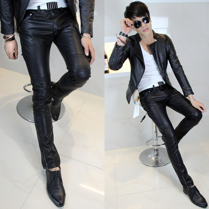 2013 men's leather pants tight male trousers new style fashionable men's pants, men Han the slim foot pants
